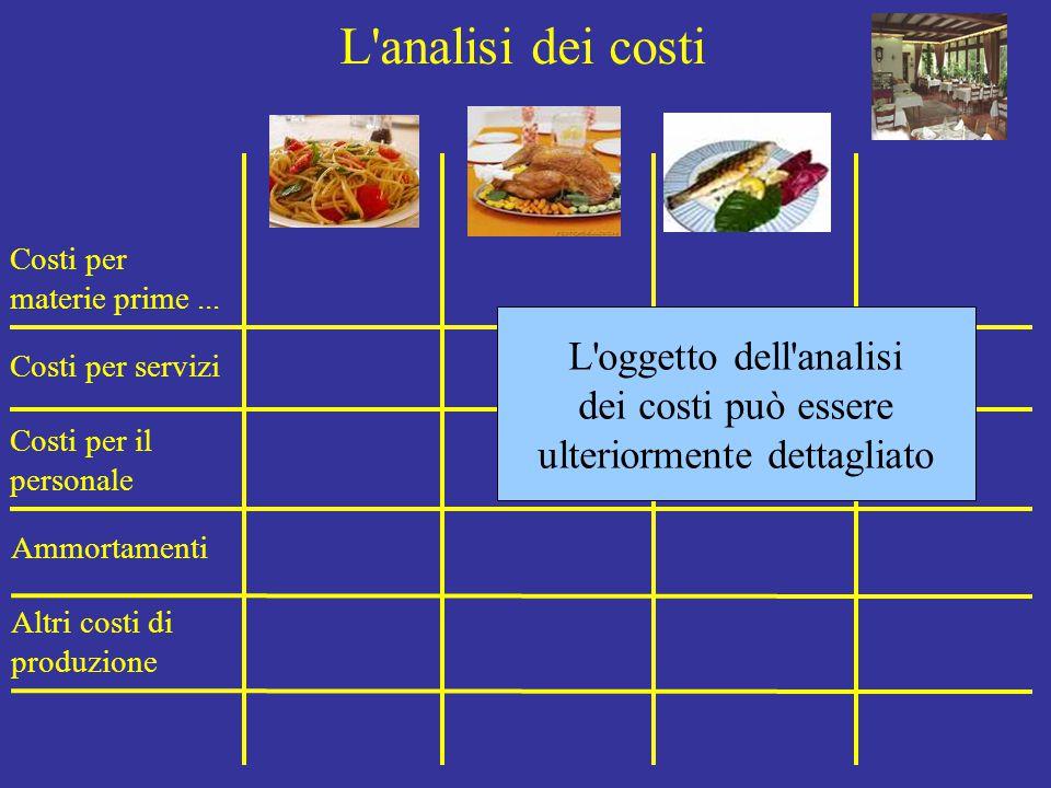 L'analisi dei costi Costi per materie prime... Costi per servizi Costi per il personale Ammortamenti Altri costi di produzione L'oggetto dell'analisi