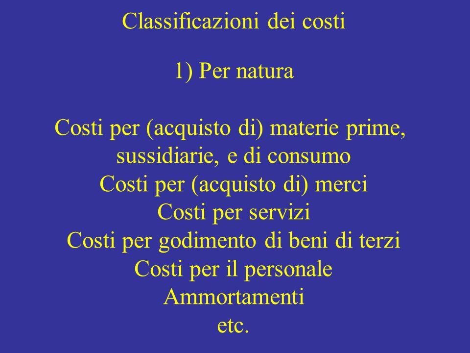 Classificazioni dei costi 1) Per natura Costi per (acquisto di) materie prime, sussidiarie, e di consumo Costi per (acquisto di) merci Costi per servizi Costi per godimento di beni di terzi Costi per il personale Ammortamenti etc.