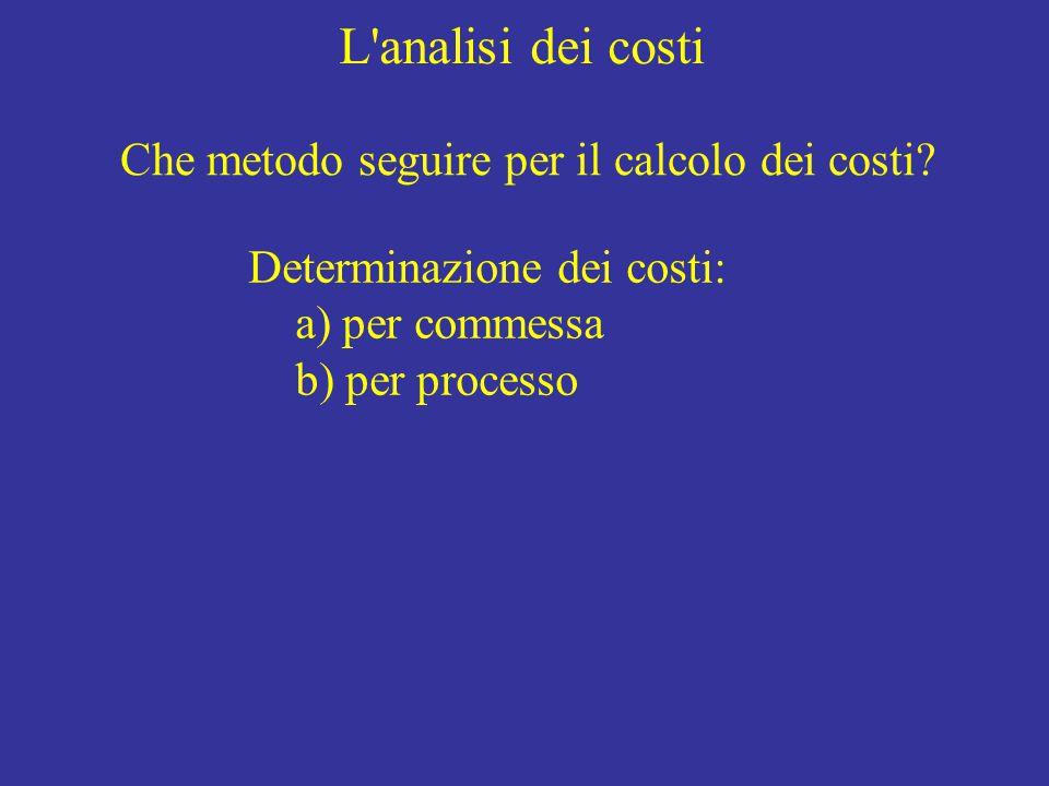 L'analisi dei costi Che metodo seguire per il calcolo dei costi? Determinazione dei costi: a) per commessa b) per processo