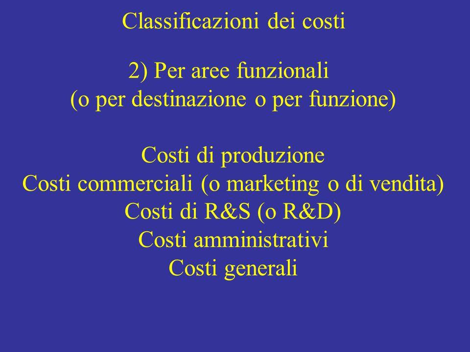 Classificazioni dei costi 2) Per aree funzionali (o per destinazione o per funzione) Costi di produzione Costi commerciali (o marketing o di vendita) Costi di R&S (o R&D) Costi amministrativi Costi generali