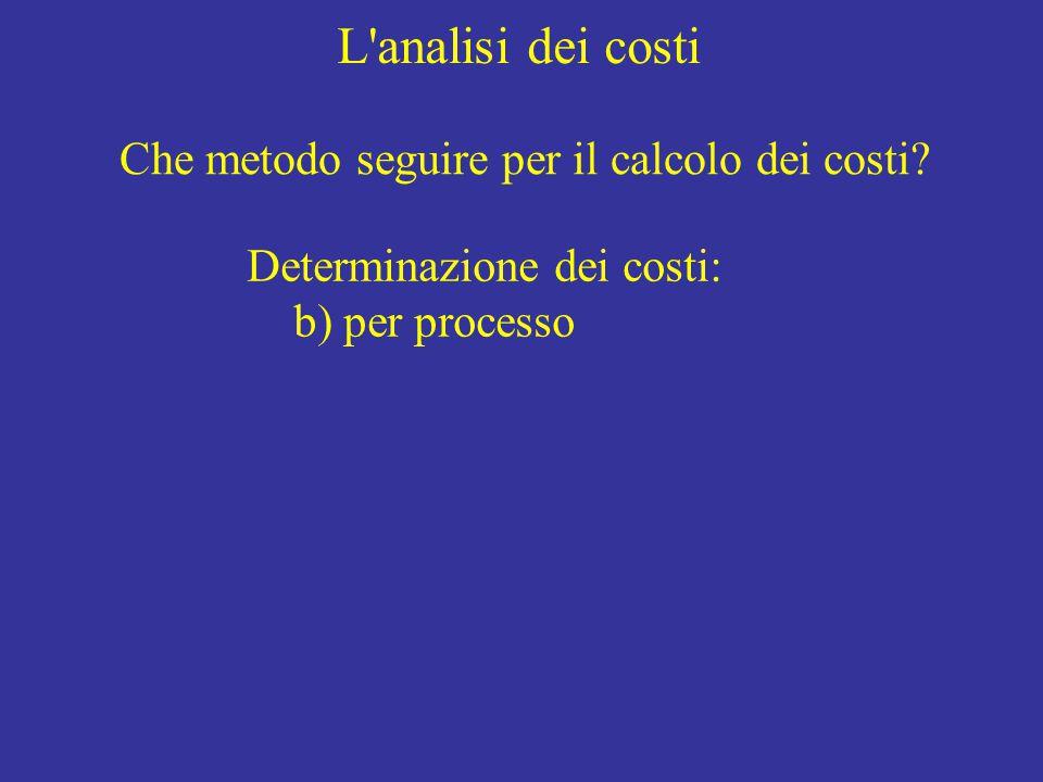 L'analisi dei costi Determinazione dei costi: b) per processo Che metodo seguire per il calcolo dei costi?