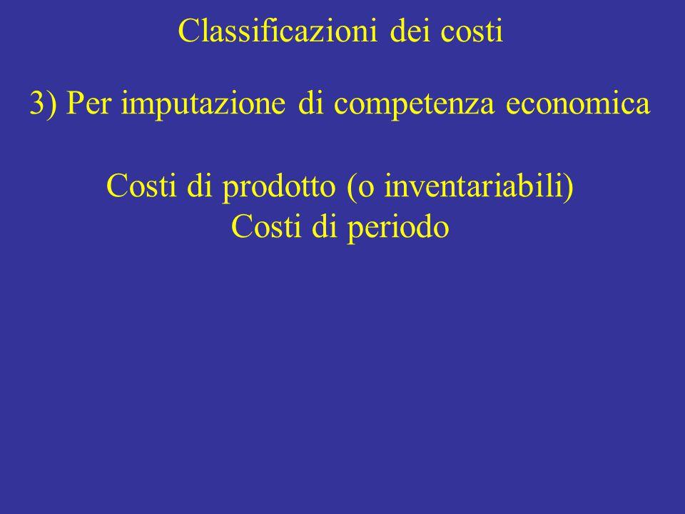Classificazioni dei costi 3) Per imputazione di competenza economica Costi di prodotto (o inventariabili) Costi di periodo