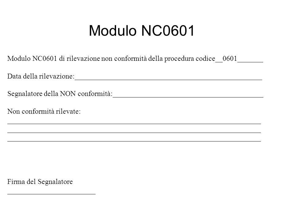 Modulo NC0601 Modulo NC0601 di rilevazione non conformità della procedura codice__0601_______ Data della rilevazione:___________________________________________________ Segnalatore della NON conformità:_________________________________________ Non conformità rilevate: _____________________________________________________________________ _____________________________________________________________________ _____________________________________________________________________ Firma del Segnalatore ________________________