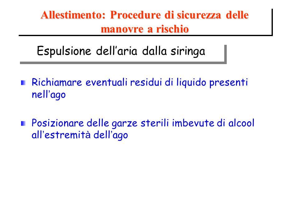 Richiamare eventuali residui di liquido presenti nell ' ago Posizionare delle garze sterili imbevute di alcool all ' estremit à dell ' ago Allestiment