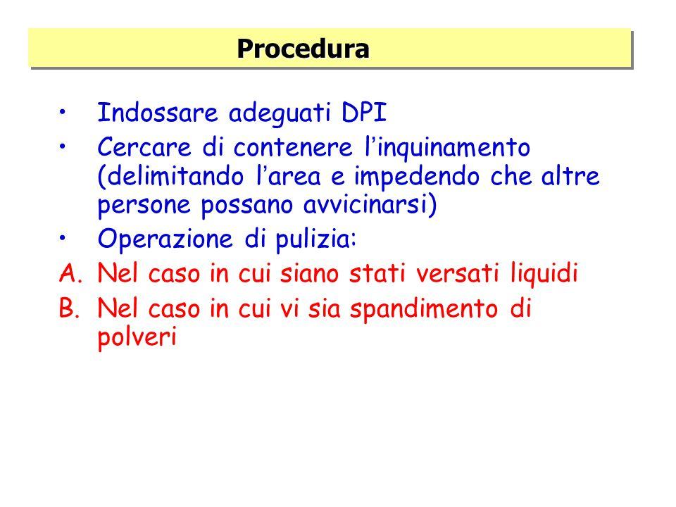 Procedura Procedura Indossare adeguati DPI Cercare di contenere l ' inquinamento (delimitando l ' area e impedendo che altre persone possano avvicinarsi) Operazione di pulizia: A.Nel caso in cui siano stati versati liquidi B.Nel caso in cui vi sia spandimento di polveri