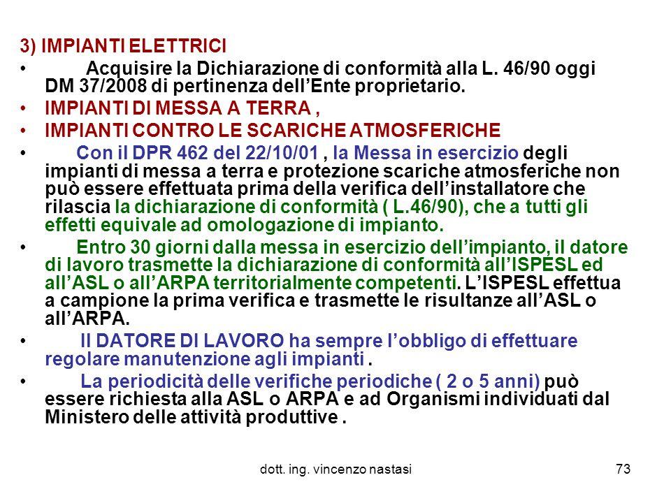 dott. ing. vincenzo nastasi73 3) IMPIANTI ELETTRICI Acquisire la Dichiarazione di conformità alla L. 46/90 oggi DM 37/2008 di pertinenza dell'Ente pro