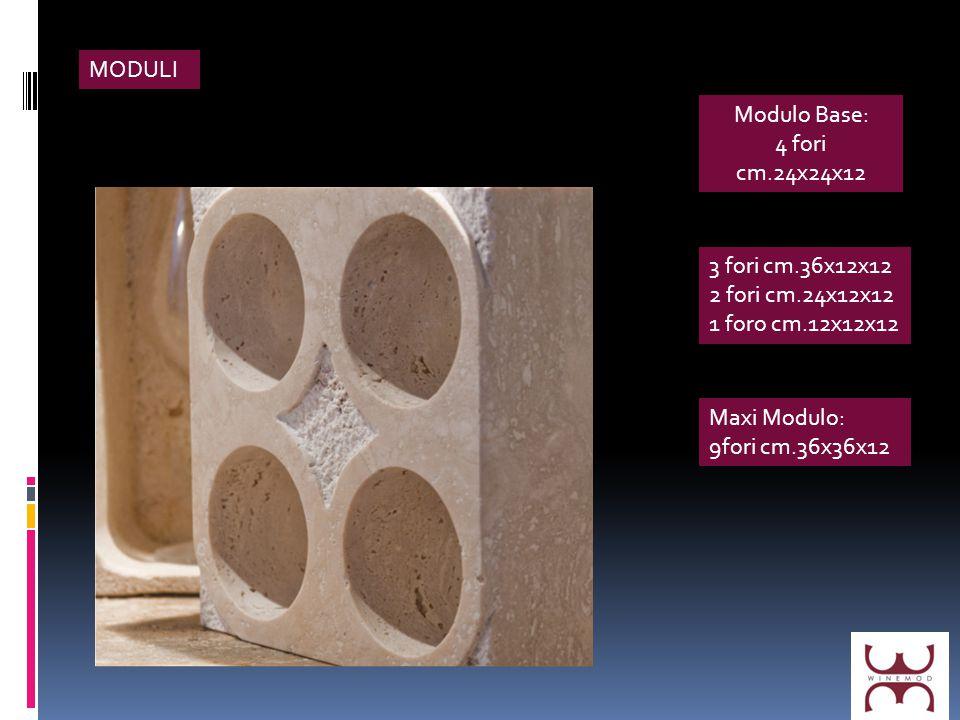 MODULI Modulo Base: 4 fori cm.24x24x12 3 fori cm.36x12x12 2 fori cm.24x12x12 1 foro cm.12x12x12 Maxi Modulo: 9fori cm.36x36x12