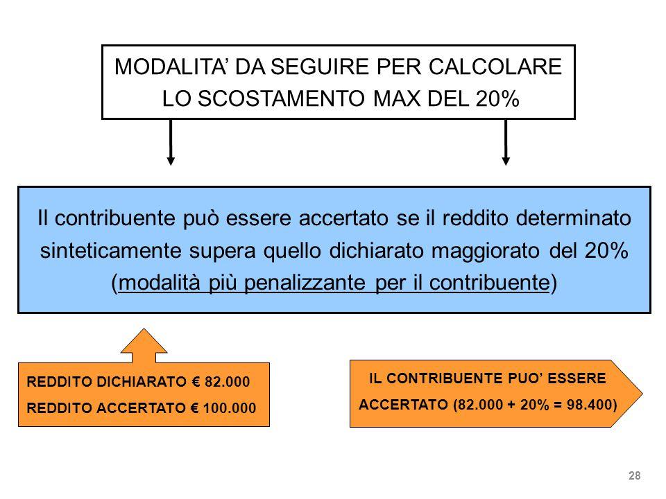 MODALITA' DA SEGUIRE PER CALCOLARE LO SCOSTAMENTO MAX DEL 20% Il contribuente può essere accertato se il reddito determinato sinteticamente supera quello dichiarato maggiorato del 20% (modalità più penalizzante per il contribuente) REDDITO DICHIARATO € 82.000 REDDITO ACCERTATO € 100.000 IL CONTRIBUENTE PUO' ESSERE ACCERTATO (82.000 + 20% = 98.400) 28