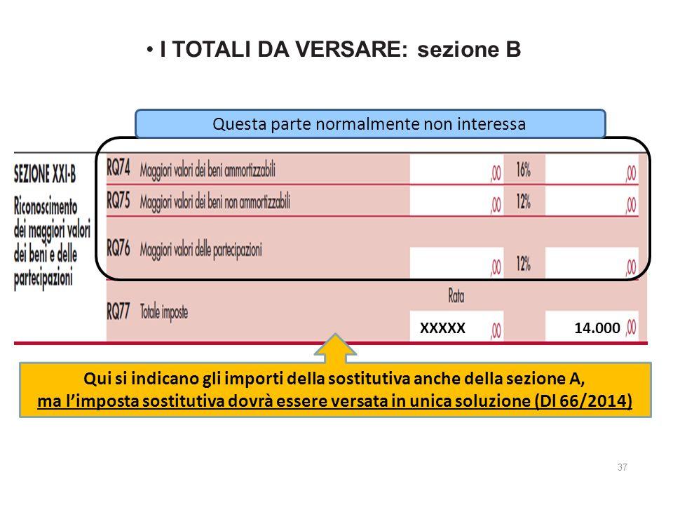 I TOTALI DA VERSARE: sezione B Questa parte normalmente non interessa Qui si indicano gli importi della sostitutiva anche della sezione A, ma l'imposta sostitutiva dovrà essere versata in unica soluzione (Dl 66/2014) XXXXX 14.000 37