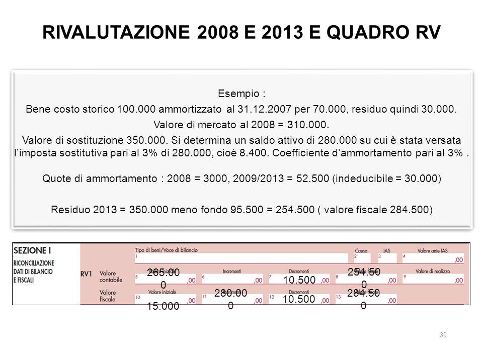 RIVALUTAZIONE 2008 E 2013 E QUADRO RV Esempio : Bene costo storico 100.000 ammortizzato al 31.12.2007 per 70.000, residuo quindi 30.000.
