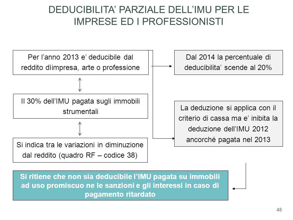 Per l'anno 2013 e' deducibile dal reddito dìimpresa, arte o professione Il 30% dell'IMU pagata sugli immobili strumentali Dal 2014 la percentuale di deducibilita' scende al 20% La deduzione si applica con il criterio di cassa ma e' inibita la deduzione dell'IMU 2012 ancorché pagata nel 2013 DEDUCIBILITA' PARZIALE DELL'IMU PER LE IMPRESE ED I PROFESSIONISTI Si ritiene che non sia deducibile l'IMU pagata su immobili ad uso promiscuo ne le sanzioni e gli interessi in caso di pagamento ritardato Si indica tra le variazioni in diminuzione dal reddito (quadro RF – codice 38) 46
