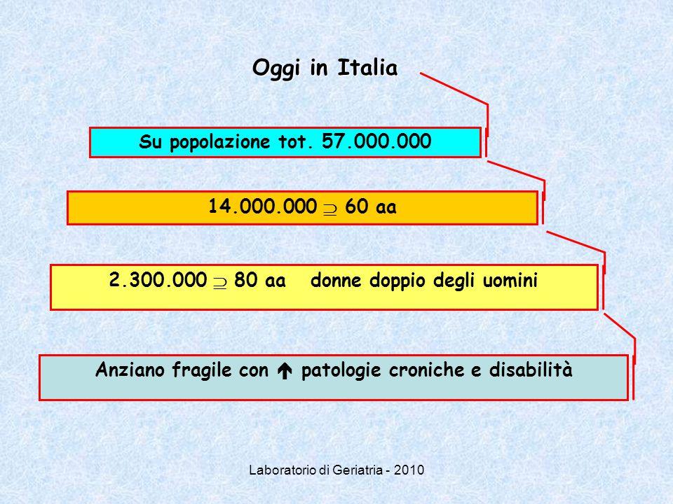 Laboratorio di Geriatria - 2010 Oggi in Italia Su popolazione tot. 57.000.000 14.000.000  60 aa 2.300.000  80 aadonne doppio degli uomini Anziano fr