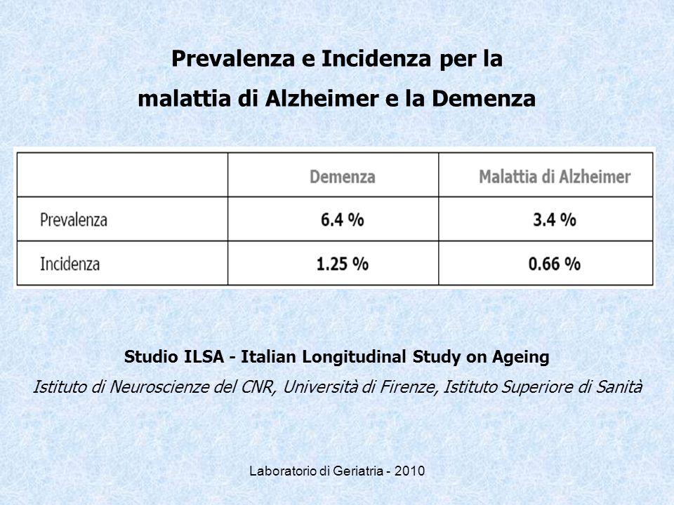 Prevalenza e Incidenza per la malattia di Alzheimer e la Demenza Studio ILSA - Italian Longitudinal Study on Ageing Istituto di Neuroscienze del CNR,