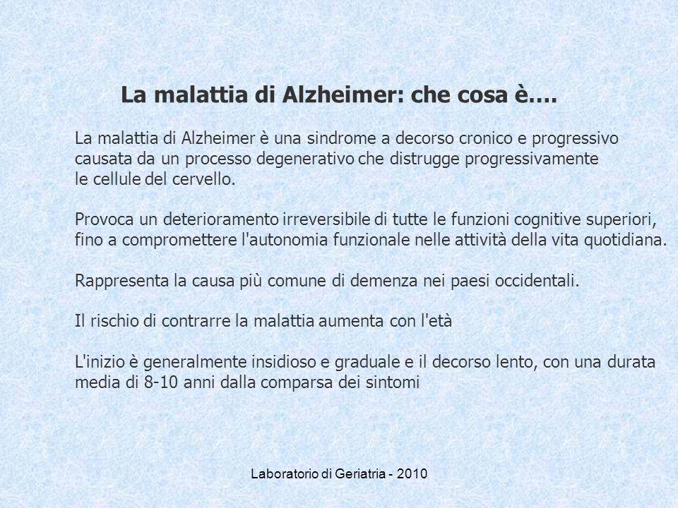 Laboratorio di Geriatria - 2010 La malattia di Alzheimer: che cosa è…. La malattia di Alzheimer è una sindrome a decorso cronico e progressivo causata