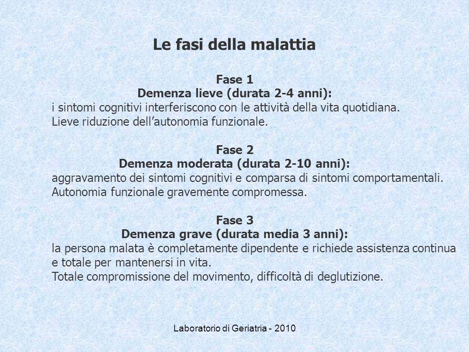Laboratorio di Geriatria - 2010 Le fasi della malattia Fase 1 Demenza lieve (durata 2-4 anni): i sintomi cognitivi interferiscono con le attività dell