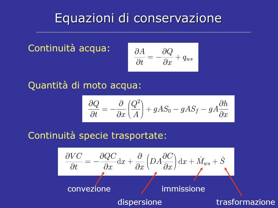 Equazioni di conservazione Continuità acqua: Quantità di moto acqua: Continuità specie trasportate: convezione dispersionetrasformazione immissione