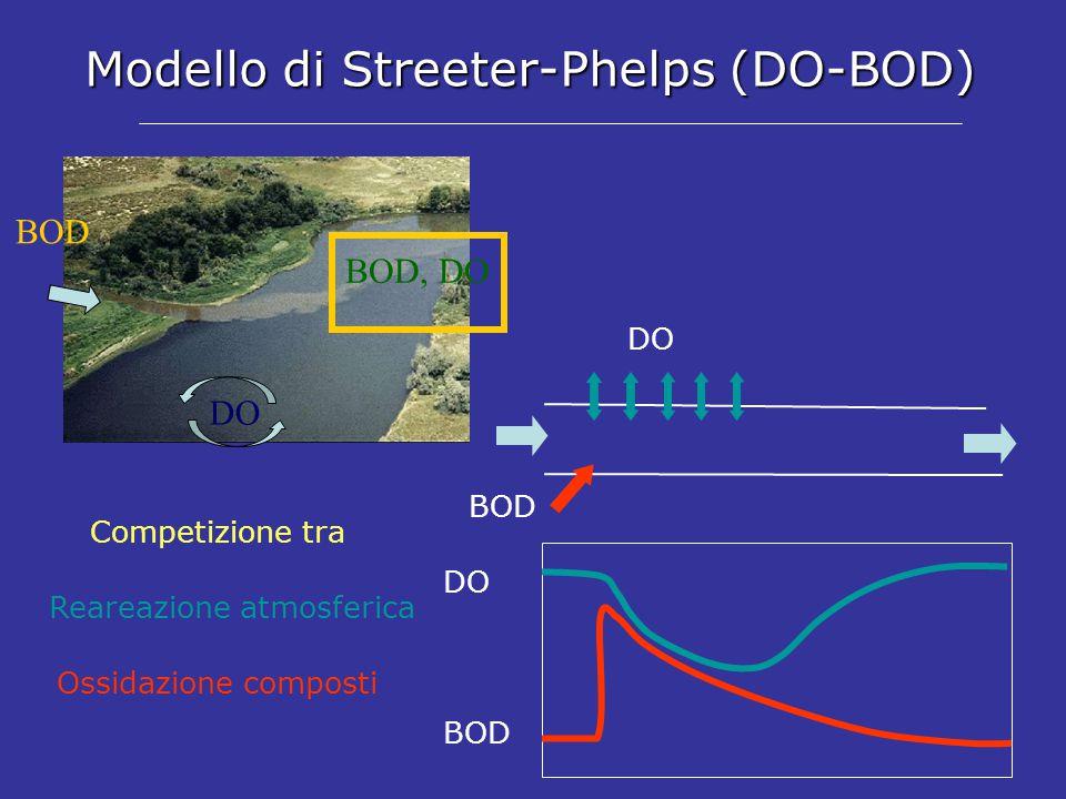 Modello di Streeter-Phelps (DO-BOD) DO BOD BOD, DO BOD DO BOD DO Competizione tra Ossidazione composti Reareazione atmosferica