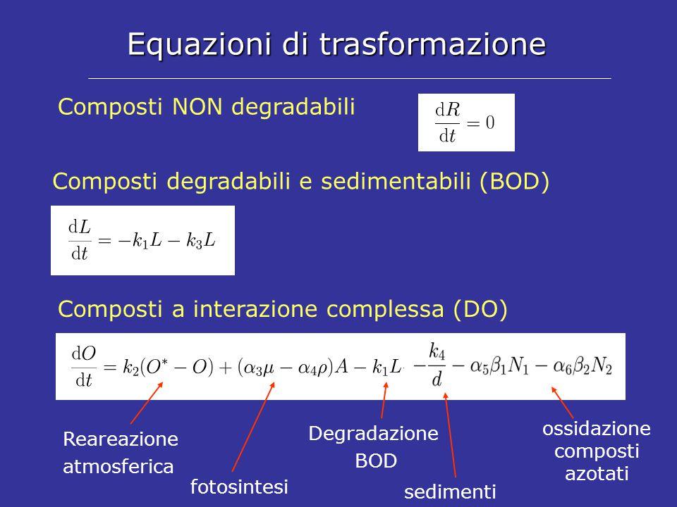 Equazioni di trasformazione Composti NON degradabili Composti degradabili e sedimentabili (BOD) Composti a interazione complessa (DO) Reareazione atmosferica fotosintesi sedimenti Degradazione BOD ossidazione composti azotati