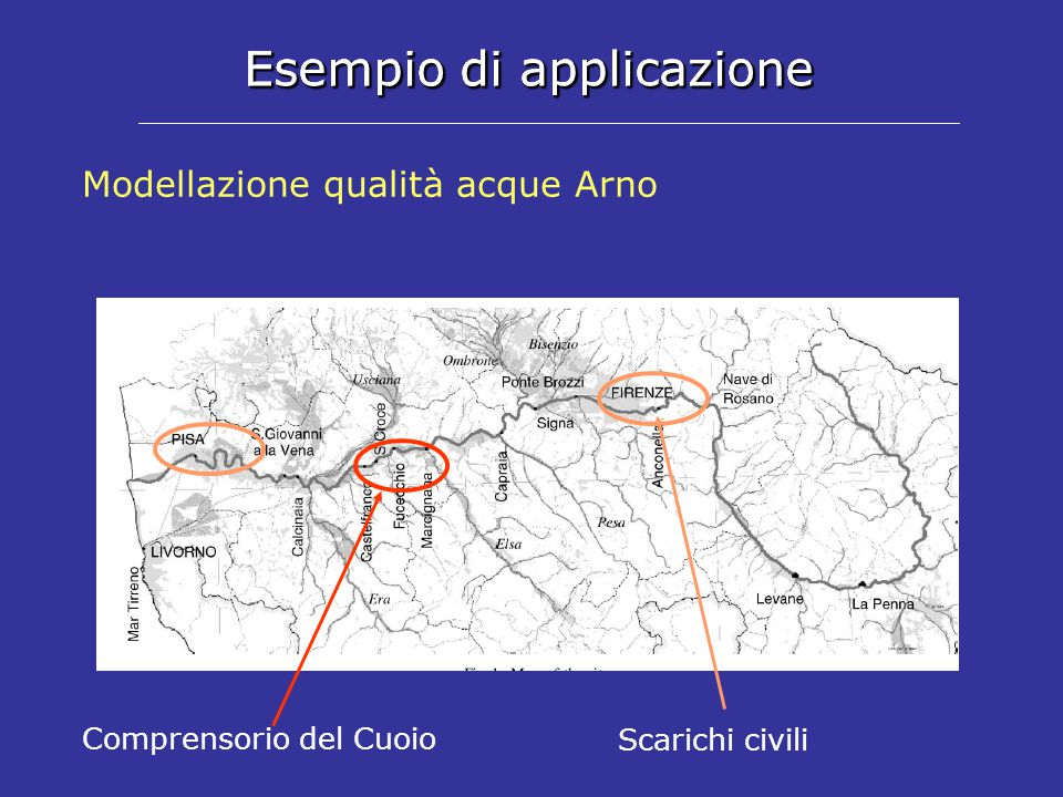 Esempio di applicazione Modellazione qualità acque Arno Comprensorio del Cuoio Scarichi civili Esempio di applicazione