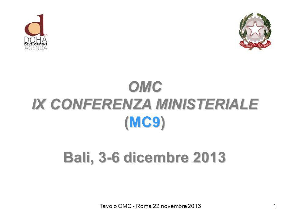 OMC IX CONFERENZA MINISTERIALE (MC9) Bali, 3-6 dicembre 2013 Tavolo OMC - Roma 22 novembre 20131