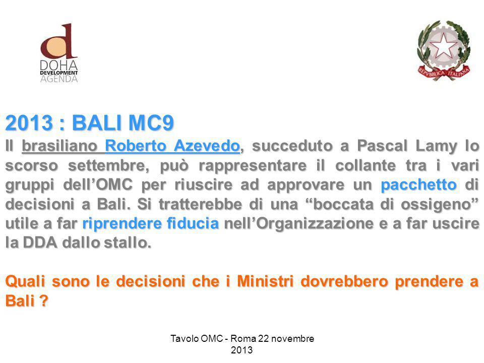2013 : BALI MC9 Il brasiliano Roberto Azevedo, succeduto a Pascal Lamy lo scorso settembre, può rappresentare il collante tra i vari gruppi dell'OMC per riuscire ad approvare un pacchetto di decisioni a Bali.