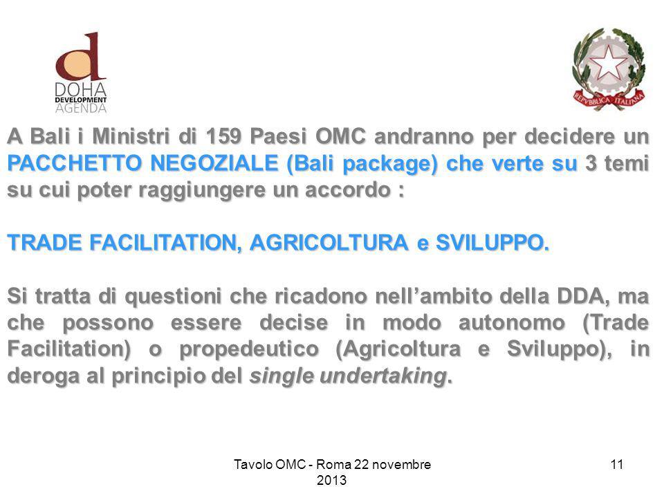A Bali i Ministri di 159 Paesi OMC andranno per decidere un PACCHETTO NEGOZIALE (Bali package) che verte su 3 temi su cui poter raggiungere un accordo : TRADE FACILITATION, AGRICOLTURA e SVILUPPO.