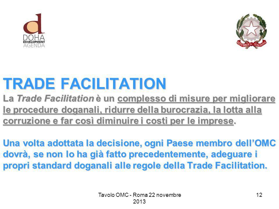 TRADE FACILITATION La Trade Facilitation è un complesso di misure per migliorare le procedure doganali, ridurre della burocrazia, la lotta alla corruzione e far così diminuire i costi per le imprese.