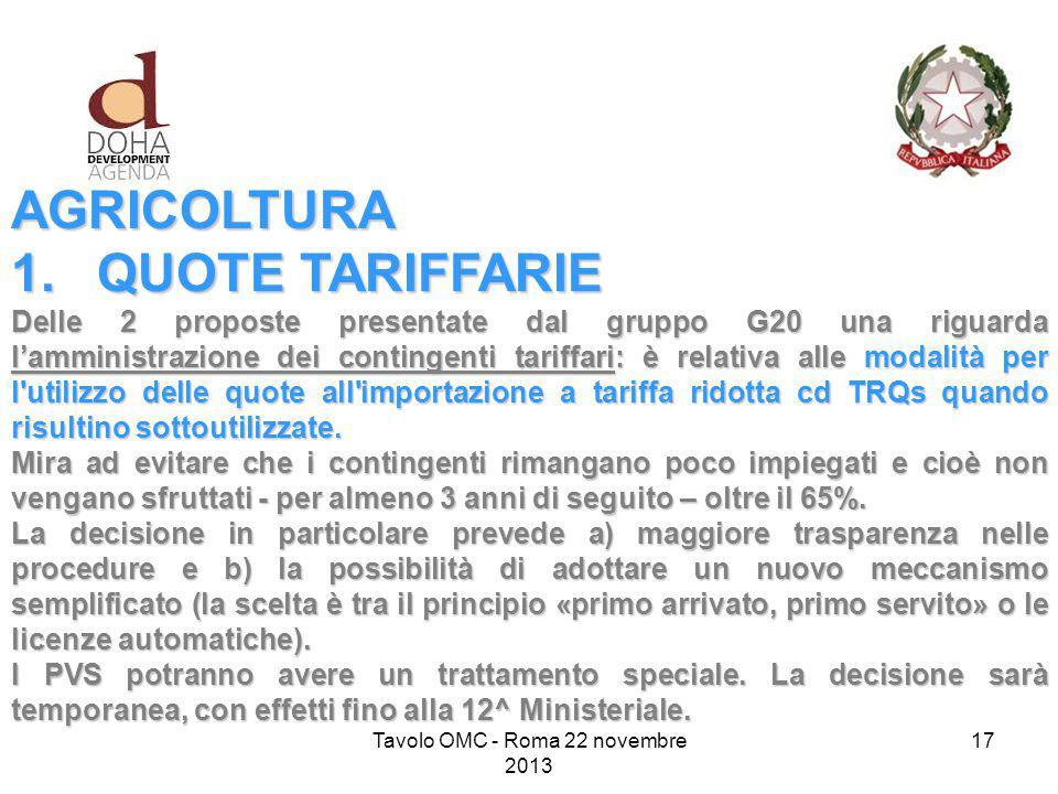 AGRICOLTURA 1.QUOTE TARIFFARIE Delle 2 proposte presentate dal gruppo G20 una riguarda l'amministrazione dei contingenti tariffari: è relativa alle modalità per l utilizzo delle quote all importazione a tariffa ridotta cd TRQs quando risultino sottoutilizzate.
