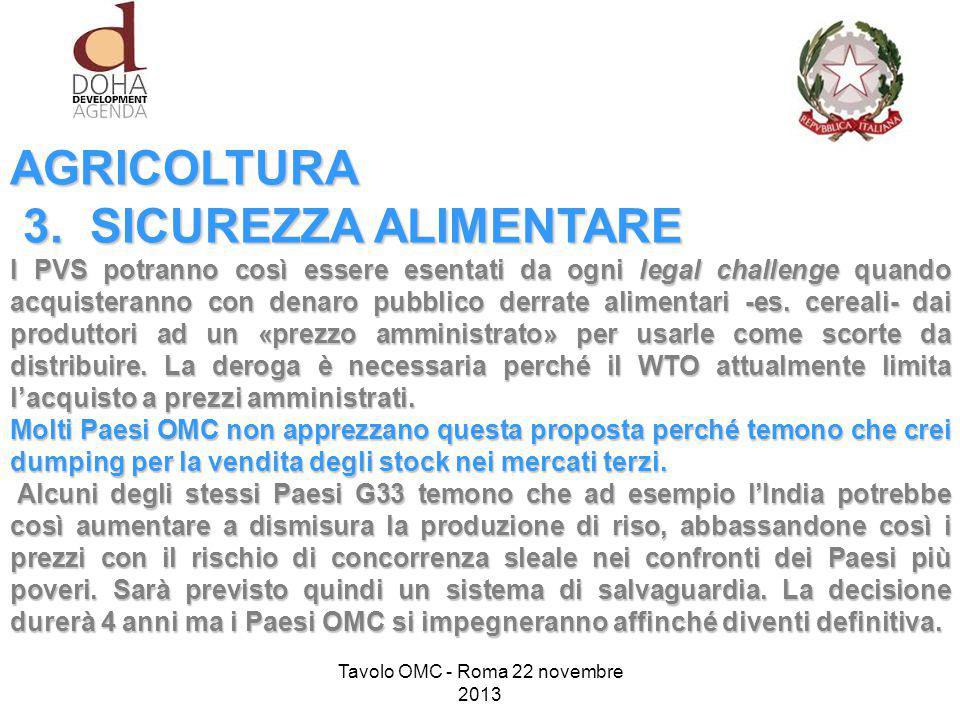 AGRICOLTURA 3. SICUREZZA ALIMENTARE 3.