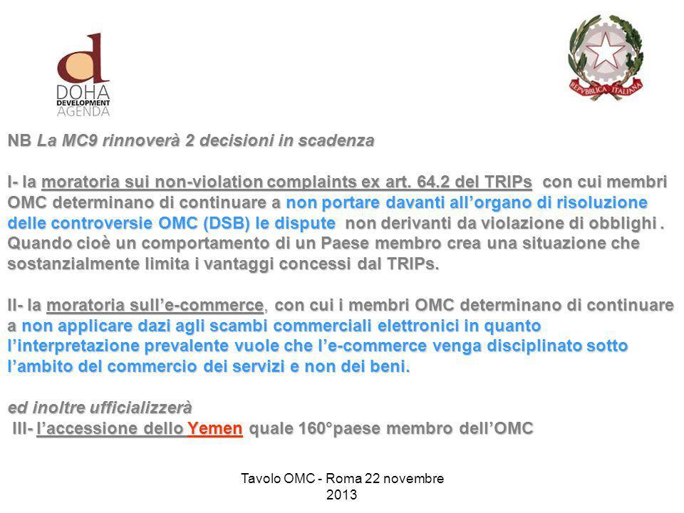 NB La MC9 rinnoverà 2 decisioni in scadenza I- la moratoria sui non-violation complaints ex art.