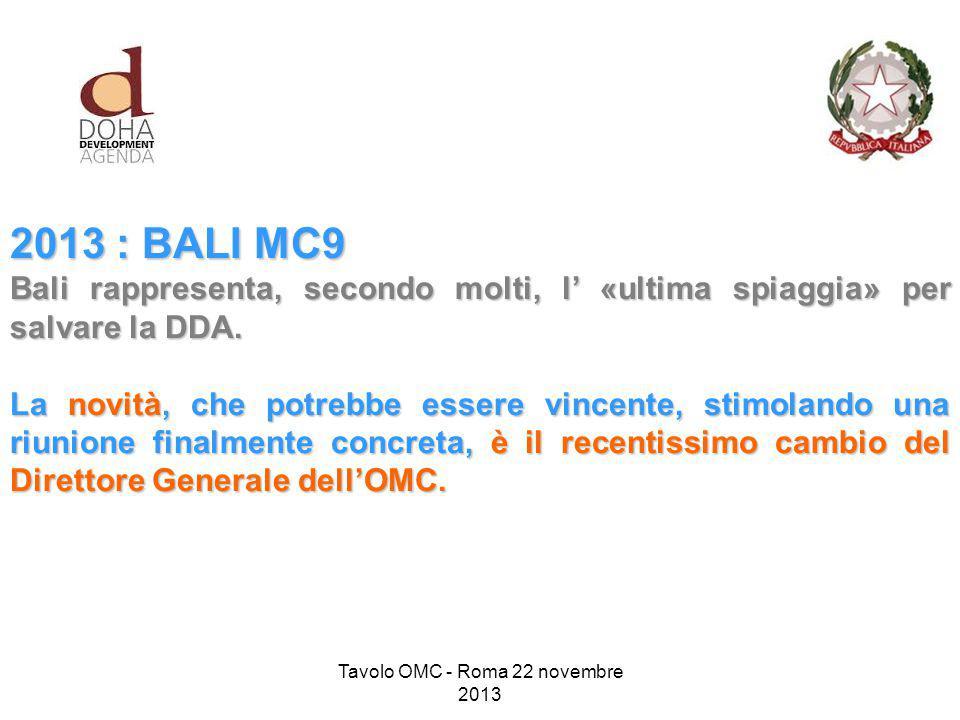 2013 : BALI MC9 Bali rappresenta, secondo molti, l' «ultima spiaggia» per salvare la DDA.