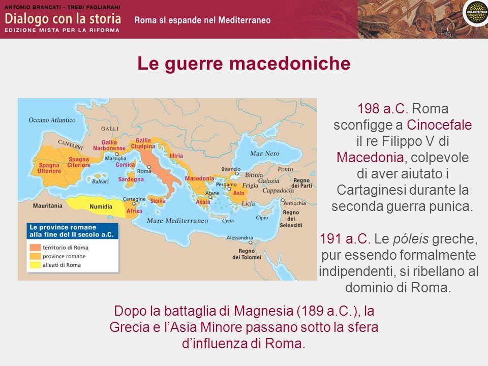 Le guerre macedoniche 191 a.C. Le póleis greche, pur essendo formalmente indipendenti, si ribellano al dominio di Roma. 198 a.C. Roma sconfigge a Cino