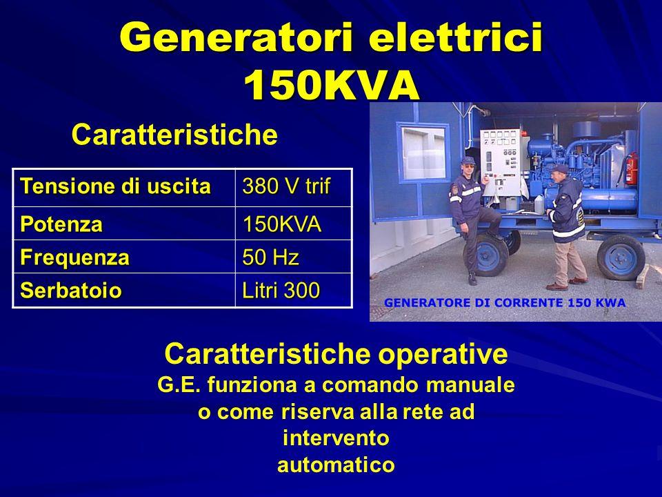 Generatori elettrici 150KVA Tensione di uscita 380 V trif Potenza150KVA Frequenza 50 Hz Serbatoio Litri 300 Caratteristiche Caratteristiche operative G.E.
