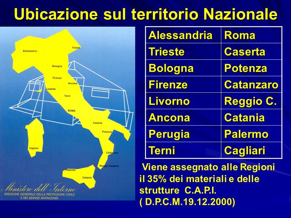 Ubicazione sul territorio Nazionale AlessandriaRomaTriesteCaserta BolognaPotenza FirenzeCatanzaro Livorno Reggio C.