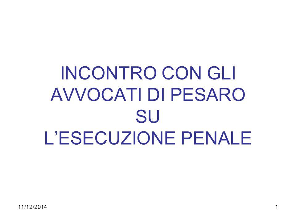 11/12/20141 INCONTRO CON GLI AVVOCATI DI PESARO SU L'ESECUZIONE PENALE