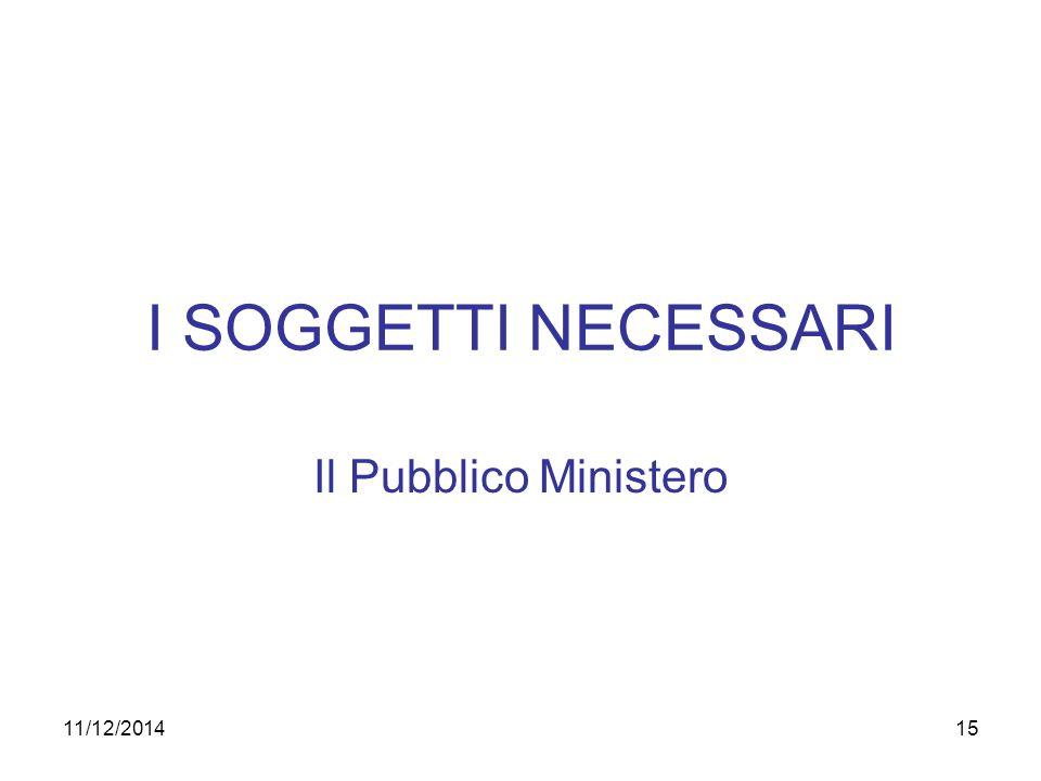 11/12/201415 I SOGGETTI NECESSARI Il Pubblico Ministero