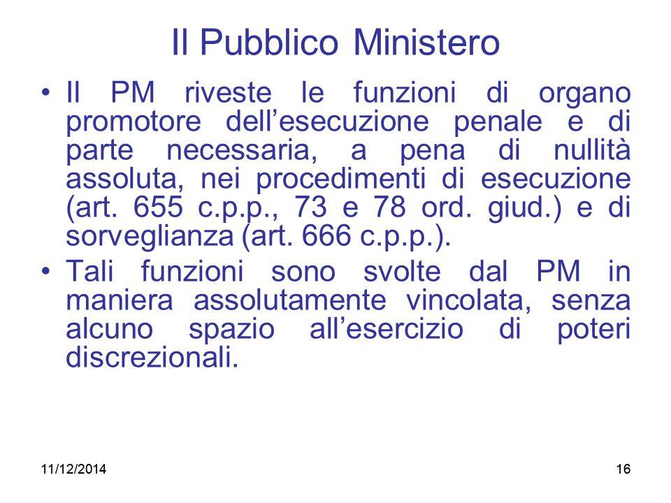 11/12/201416 Il Pubblico Ministero Il PM riveste le funzioni di organo promotore dell'esecuzione penale e di parte necessaria, a pena di nullità assol
