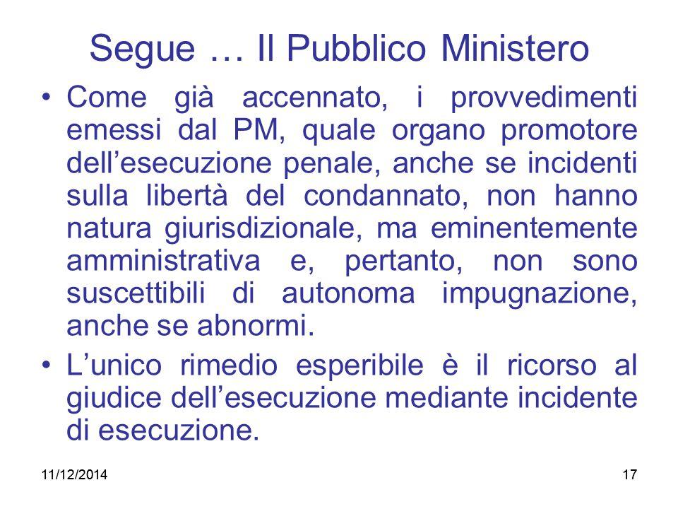 17 Segue … Il Pubblico Ministero Come già accennato, i provvedimenti emessi dal PM, quale organo promotore dell'esecuzione penale, anche se incidenti