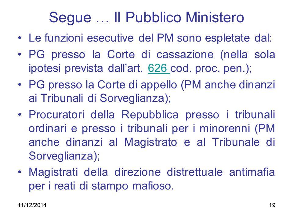 19 Segue … Il Pubblico Ministero Le funzioni esecutive del PM sono espletate dal: PG presso la Corte di cassazione (nella sola ipotesi prevista dall'a