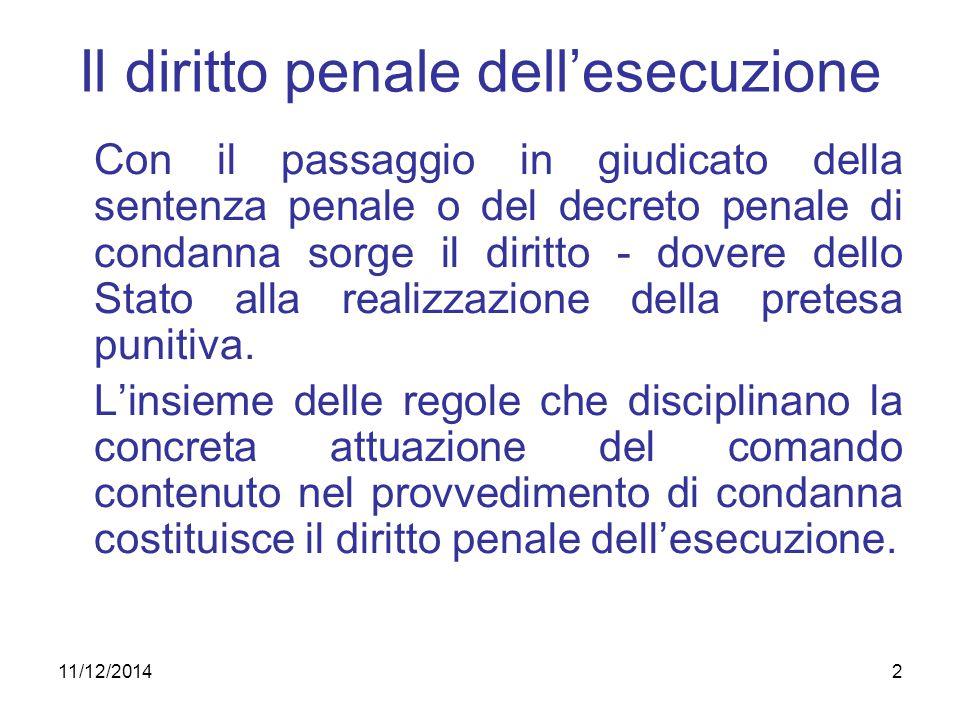 2 Il diritto penale dell'esecuzione Con il passaggio in giudicato della sentenza penale o del decreto penale di condanna sorge il diritto - dovere del