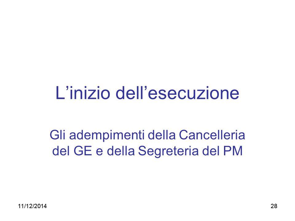 28 L'inizio dell'esecuzione Gli adempimenti della Cancelleria del GE e della Segreteria del PM 11/12/2014