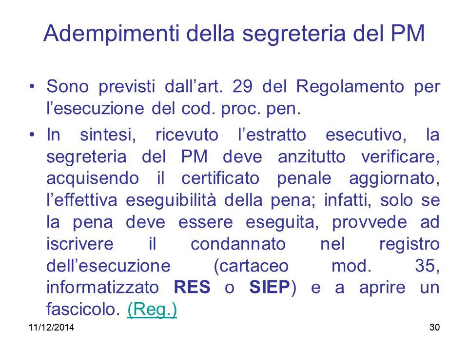 30 Adempimenti della segreteria del PM Sono previsti dall'art. 29 del Regolamento per l'esecuzione del cod. proc. pen. In sintesi, ricevuto l'estratto