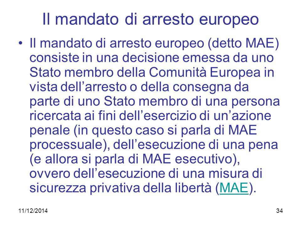 34 Il mandato di arresto europeo Il mandato di arresto europeo (detto MAE) consiste in una decisione emessa da uno Stato membro della Comunità Europea