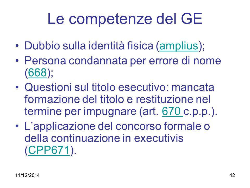 42 Le competenze del GE Dubbio sulla identità fisica (amplius); Persona condannata per errore di nome (668); Questioni sul titolo esecutivo: mancata f