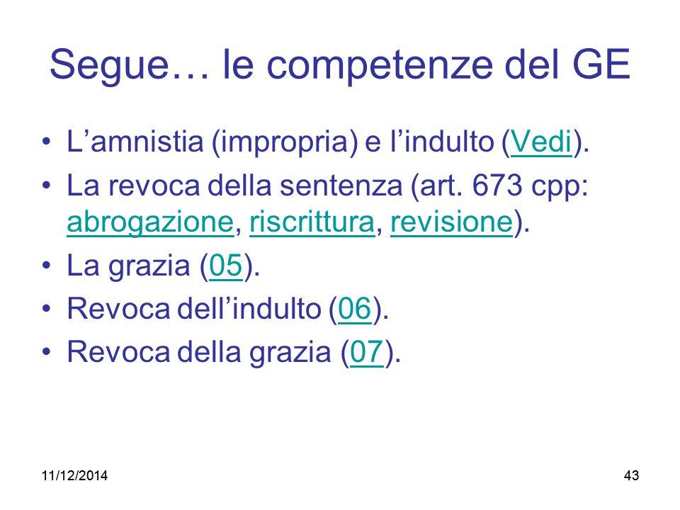 43 Segue… le competenze del GE L'amnistia (impropria) e l'indulto (Vedi). La revoca della sentenza (art. 673 cpp: abrogazione, riscrittura, revisione)