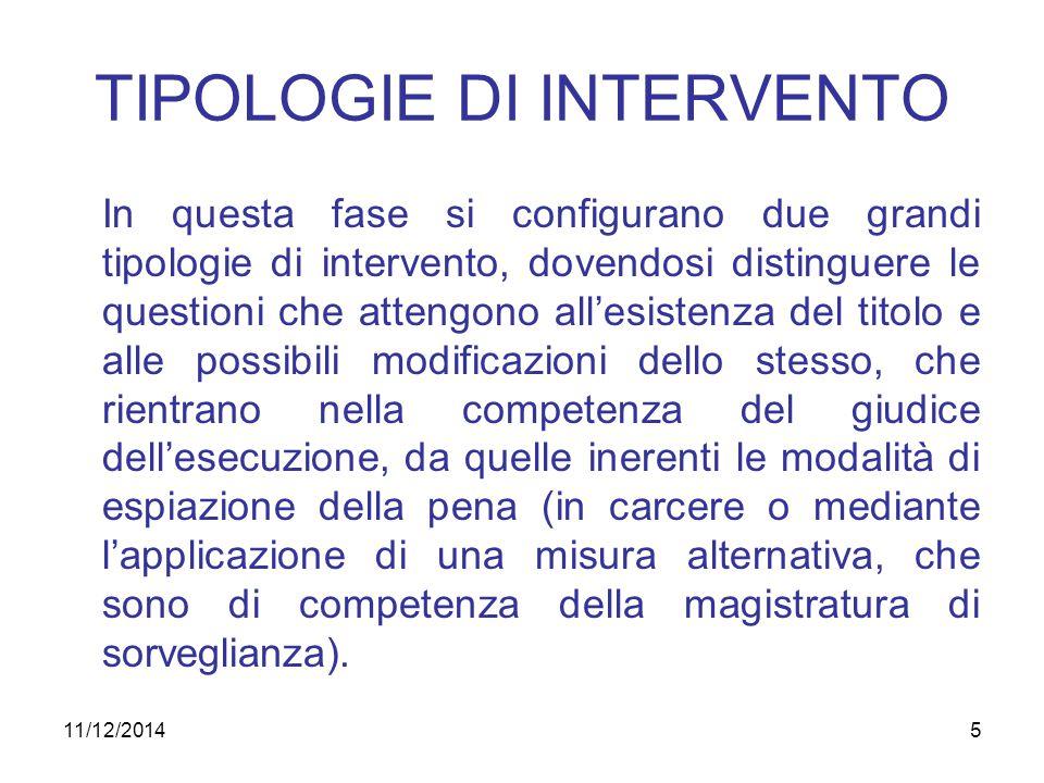 5 TIPOLOGIE DI INTERVENTO In questa fase si configurano due grandi tipologie di intervento, dovendosi distinguere le questioni che attengono all'esist