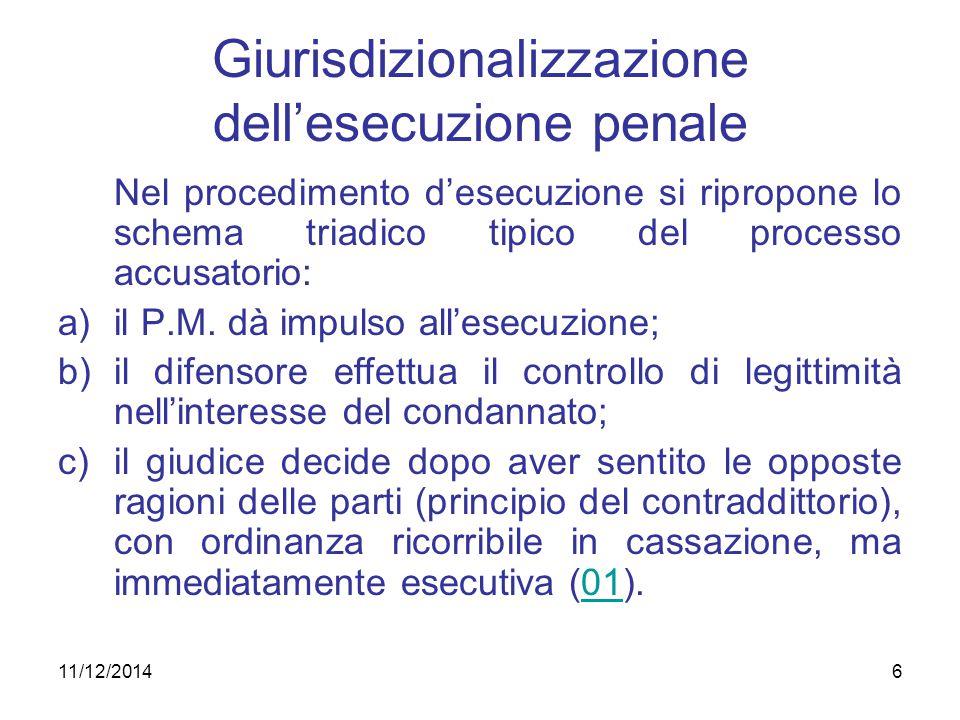 6 Giurisdizionalizzazione dell'esecuzione penale Nel procedimento d'esecuzione si ripropone lo schema triadico tipico del processo accusatorio: a)il P