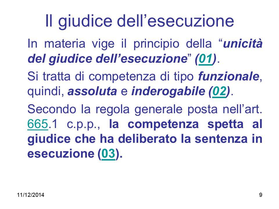 """9 Il giudice dell'esecuzione In materia vige il principio della """"unicità del giudice dell'esecuzione"""" (01). Si tratta di competenza di tipo funzionale"""