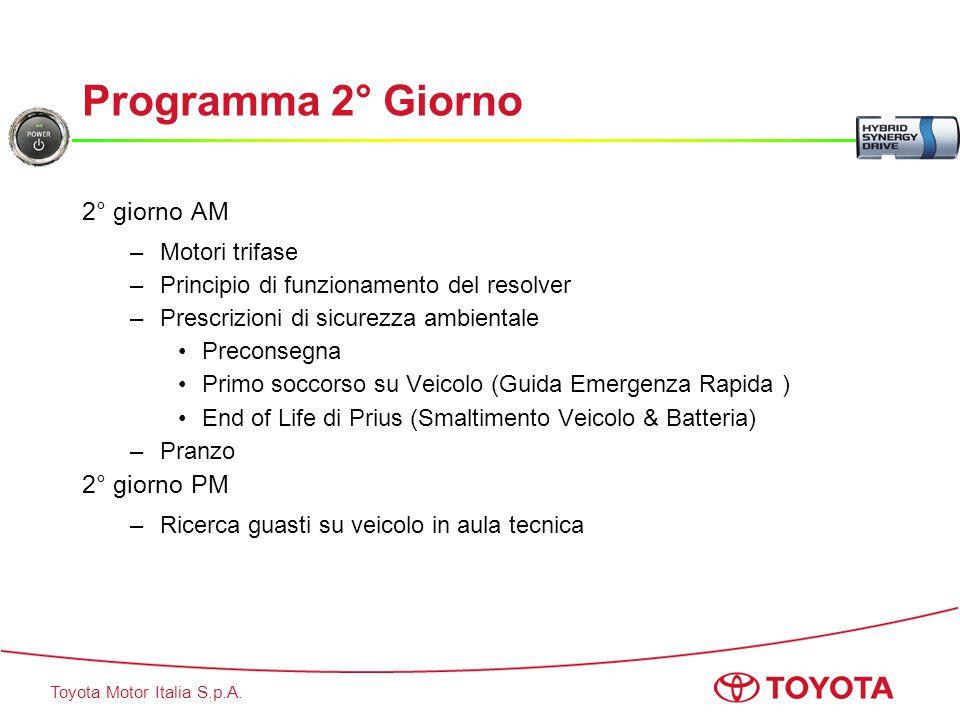 Toyota Motor Italia S.p.A. Programma 2° Giorno 2° giorno AM –Motori trifase –Principio di funzionamento del resolver –Prescrizioni di sicurezza ambien