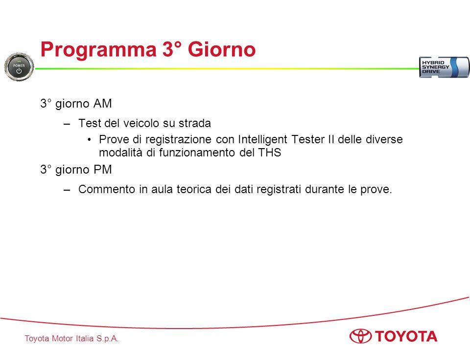 Toyota Motor Italia S.p.A. Programma 3° Giorno 3° giorno AM –Test del veicolo su strada Prove di registrazione con Intelligent Tester II delle diverse